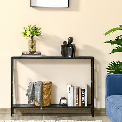 Console Table Home Furniture 2 Shelves Steel Frame MDF Art Deco Square Style • 47.99£