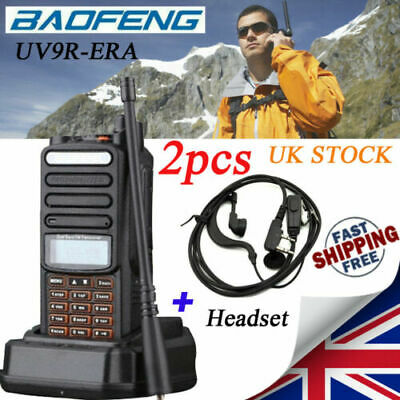 2X Baofeng UV-9R EAR Walkie Talkie UHF VHF Dual Band 2-Way Ham Radio Range 50km • 64.99£