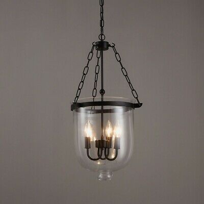 $159.99 • Buy Retro Clear Glass Shade Bell Jar Pendant Light 3 Candle Lights Suspended Lamp UL