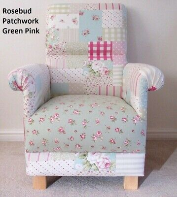 £159.95 • Buy Patchwork Fabric Adult Chair Armchair Green Pink Roses Gingham Bedroom Accent