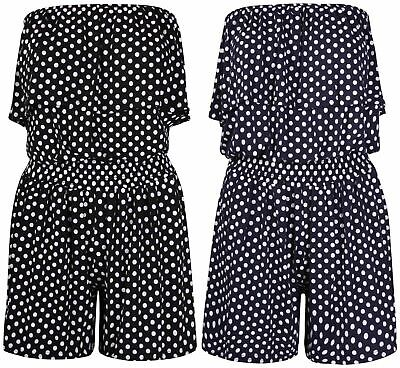 Ladies Playsuit Jumpsuit Polka Dot Shorts Bandeau Elasticated Summer New Womens  • 3.99£