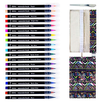 $28.83 • Buy Watercolor Brush Pen 20 Pre Filled Water Color Brush Markers With Real Brush Tip