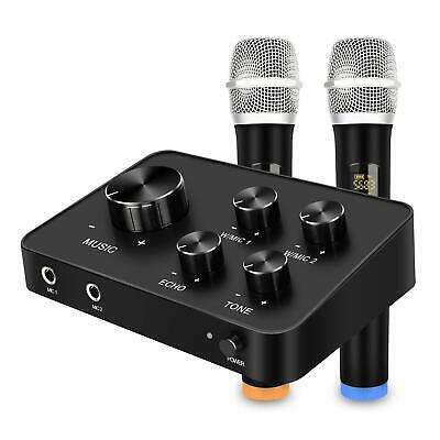 $99.99 • Buy Karaoke Microphone Mixer System Set With Dual UHF Wireless Mic HDMI & AUX In/Out