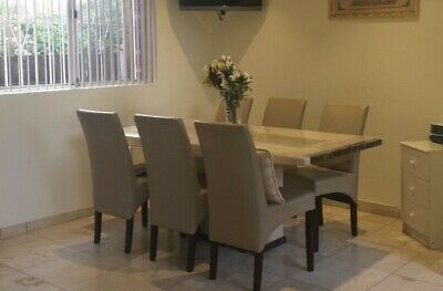 AU1000 • Buy 7 Piece Marble Table And Leather Dining Chair Set