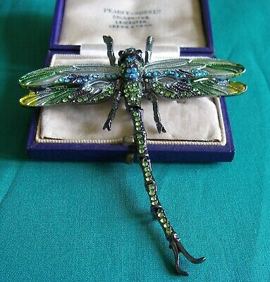Large Art Nouveau Gold Twin Dragonflies Brooch Pin Pearl Insect Broach UK