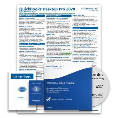 £23.96 • Buy QUICKBOOKS PRO 2020 DELUXE Training Tutorial Course With Quick Reference Guide