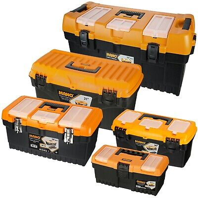 Large Plastic Toolboxes Chest Lockable Lid Removable Storage Compartment Inserts • 8.99£