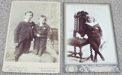 £12.99 • Buy Victorian Cabinet Photographs 2 Antique Photos Children In Sailor Outfits C1890