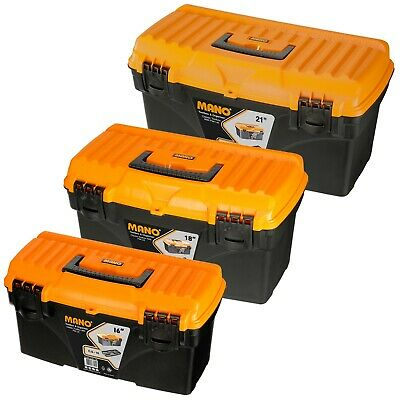 Large Plastic Toolbox Chest Classic Look Lockable Lid Storage Compartment Insert • 14.99£
