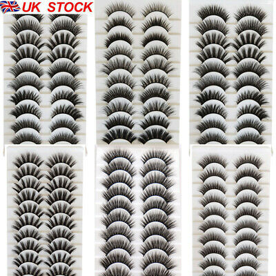 UK 10 Pairs False Eyelashes Long Thick Natural Fake Eye Lashes Set Mink Makeup  • 3.29£