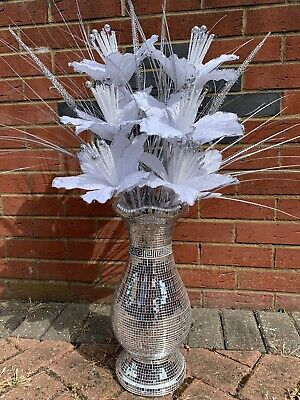 Silver Bling Mosaic Mirror Decorated 40cm Vase With Glittery White Flowers • 39.99£