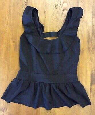 Eva & Lola Ladies Black Sleeveless Top With Ruffle Neck- Cut Out Back Size Small • 8.99£