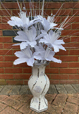 White Bling Mosaic Mirror Decorated 37cm Vase With Glittery White Flowers • 34.99£
