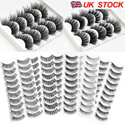 10Pairs 3D Fake Eyelashes Long Thick Natural False Eye Lashes Set Mink Makeup UK • 4.99£