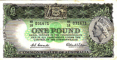 AU26 • Buy 1961 Reserve Bank Of Australia Coombs/Wilson £1 Banknote - HH18