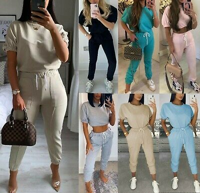 Women's Ladies Cuffed Short Sleeve Boxy Top Bottom Suit Loungewear Tracksuit Set • 18.95£