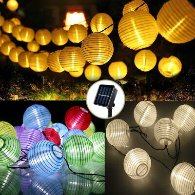 LED Solar Power Chinese Lantern Fairy String Lights Garden Outdoor Party Decor • 10.99£