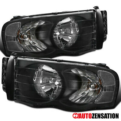$80.99 • Buy For 2002-2005 Dodge Ram 1500/2500/3500 Black Headlights Head Lamps Pair 03 04