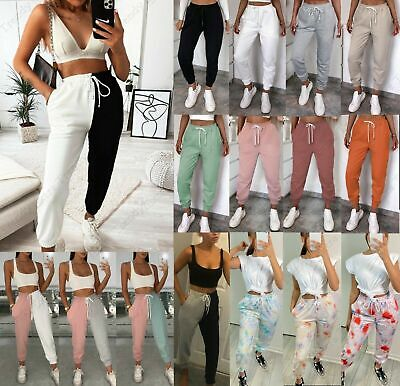 Womens Ladies High Waist Cuffed Bottom Jogging Joggers Active Gym Trousers Pants • 13.90£