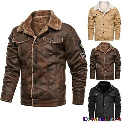 £32.66 • Buy Winter Mens Fur Lined Leather Jacket Warm Coat Lining Thick Coats Cowboy Jacket
