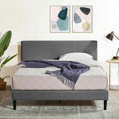 AU219 • Buy Zinus Nelly Bed Frame Single Double Queen King Fabric Platform Base Wooden Grey