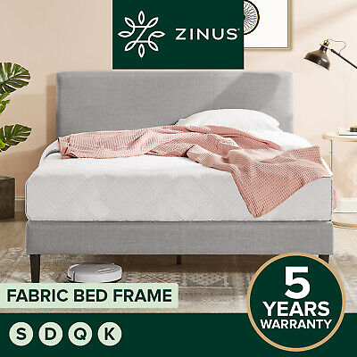 AU229 • Buy Zinus Nelly Single Double Queen King Bed Frame Fabric Platform Base Light Grey