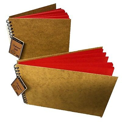 BRIGHT RED Card Wooden Hardback Cover Scrapbook Pad Wirobound Sketch Book Arts • 14.99£