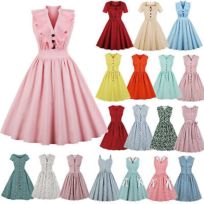 Womens Vintage 1950s 60s Rockabilly Party  Pinup Housewife Swing Dress Plus Size • 12.89£