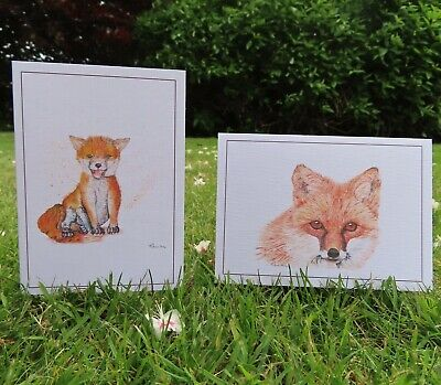 £7.98 • Buy Greeting Cards - Hand Painted Watercolour Prints - Animals Fox - Pack Of 4