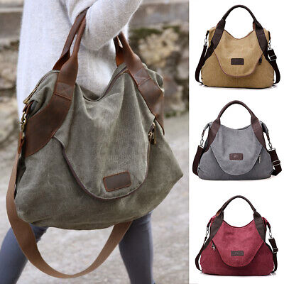AU30.59 • Buy Large Women Canvas Handbag Messenger Shoulder Bag Tote Purse Travel Satchel Hobo
