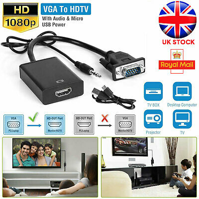 HD 1080P VGA To HDMI Converter Audio Cable Adapter USB For HDTV PC TV Laptop  • 5.96£