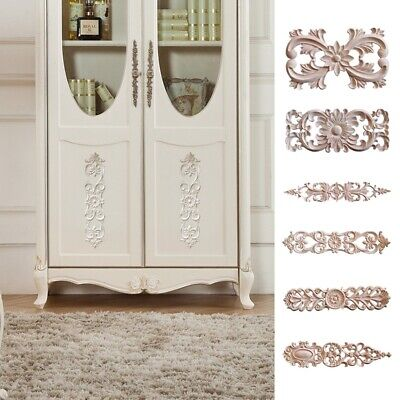 $5.68 • Buy 1PC Unpainted Wood Carved Decal Corner Onlay Applique Furniture Craft Decorative