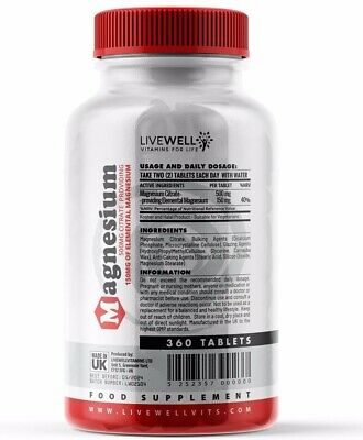 £14.99 • Buy Magnesium Citrate 360 Vegan Tablets   Muscle Function Fatigue Tiredness Capsules