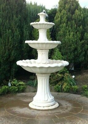 Large Barcelona 6'10 Tall White Stone Outdoor Garden Water Feature Fountain • 790.25£