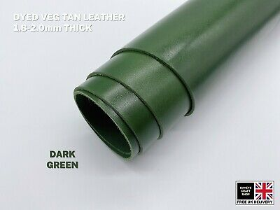 Dyed Veg Tan Leather Cowhide Craft 1.8-2mm Thick Dark Green • 7£