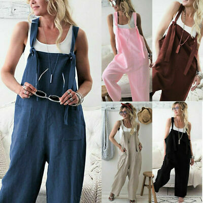 AU24.79 • Buy Women Baggy Harem Dungarees Overalls Ladies Loose Strap Casual Jumpsuit Trousers