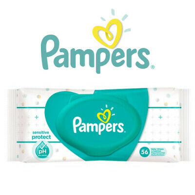 Pampers Sensitive Protect Disposable Baby Wet Wipes Pack Of 56 PH Balanced Child • 6.30£