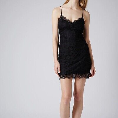 Topshop Black Mini Lace Cami Dress 10 New With Tags • 9£