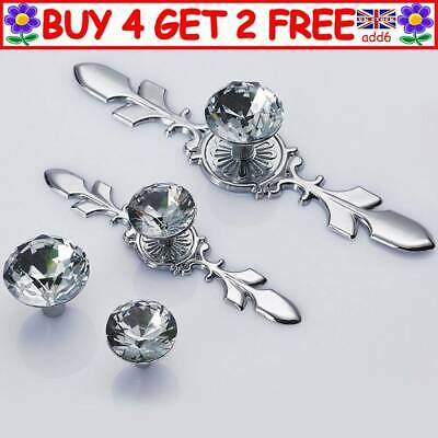 Crystal Diamond Glass Pull Handle Door Knobs Drawer Cupboard Cabinet Handle A4UK • 3.59£