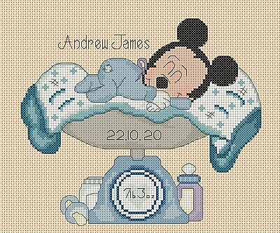 £4.50 • Buy Cross Stitch Chart New Baby Birth Sampler Mickey Mouse 2 FlowerPower37