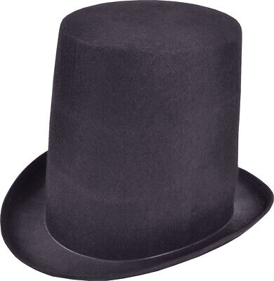 Magicians Stovepipe Black Top Hat Adult Victorian & Gothic Fancy Dress Magic New • 8.49£