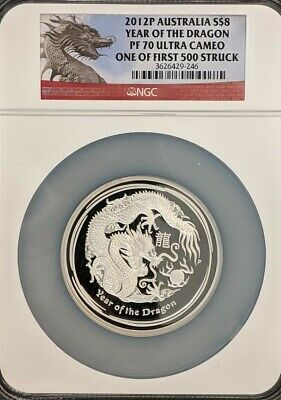 $199.95 • Buy 2012P Australia Year Of The Dragon 5 Ounce .999 Silver NGC PF70 Ultra Cameo