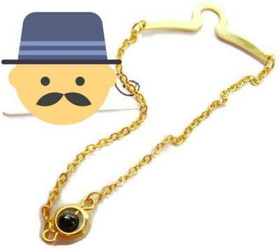 $5.99 • Buy Men Tie Shirt Button Hole Bar W Chain Black Bead Gold Tone Dress Suit Clasp Used