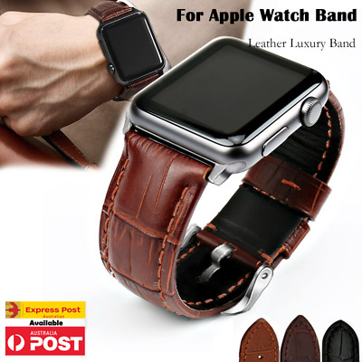 AU11.99 • Buy Genuine Leather For Apple Watch Band IWatch Strap Series 6 5 4 3 2 38 40 42 44mm