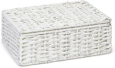 ARPAN Paper Rope Storage Basket Box With Lid - White (Small) • 10.19£