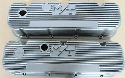 $299.99 • Buy M/T 140R-48B Valve Cover, Early BB Chevy W/Logo, Painter Silver, Finned, Pair
