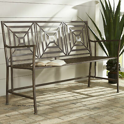 $399.97 • Buy Garden Bench Outdoor Metal Park Seat Rustic Modern 4.5'ft L Patio Yard Furniture