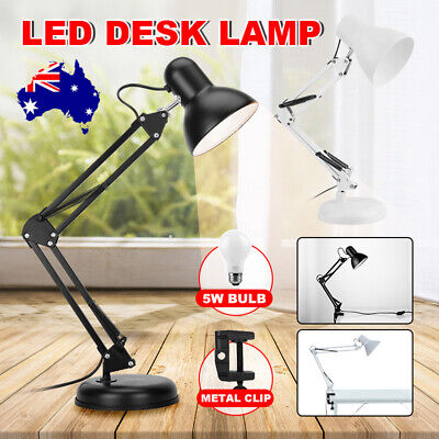 AU22.95 • Buy Super Bright Desk Lamp Swing Arm Clamp On Table Light With Metal Clip & LED Bulb