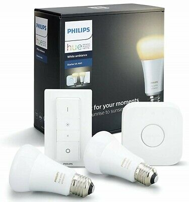 AU119.95 • Buy Philips Hue White Ambiance Starter Kit | 2x Bulbs | Bridge | Dimmer | BRAND NEW
