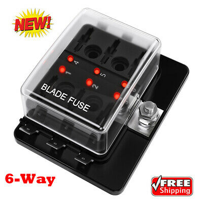 AU15.73 • Buy 6-Way Circuit Blade Fuse Box Block LED Indicator Car 12V 32V Holder Marine Boat